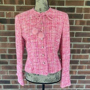Escada pink tweed blazer pon pon Sz 38/8